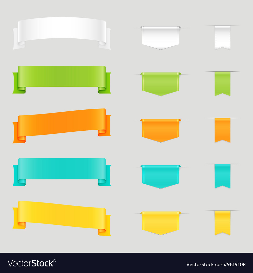 Set of colorful web ribbons and bookmarks vector image