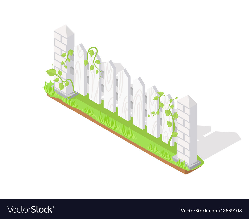 Wooden Fence Section Isometric Projection vector image