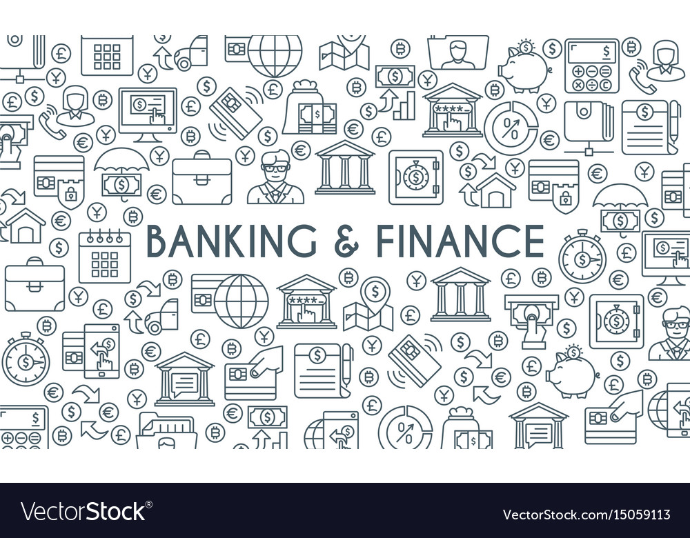 Banking and finance thin line banner
