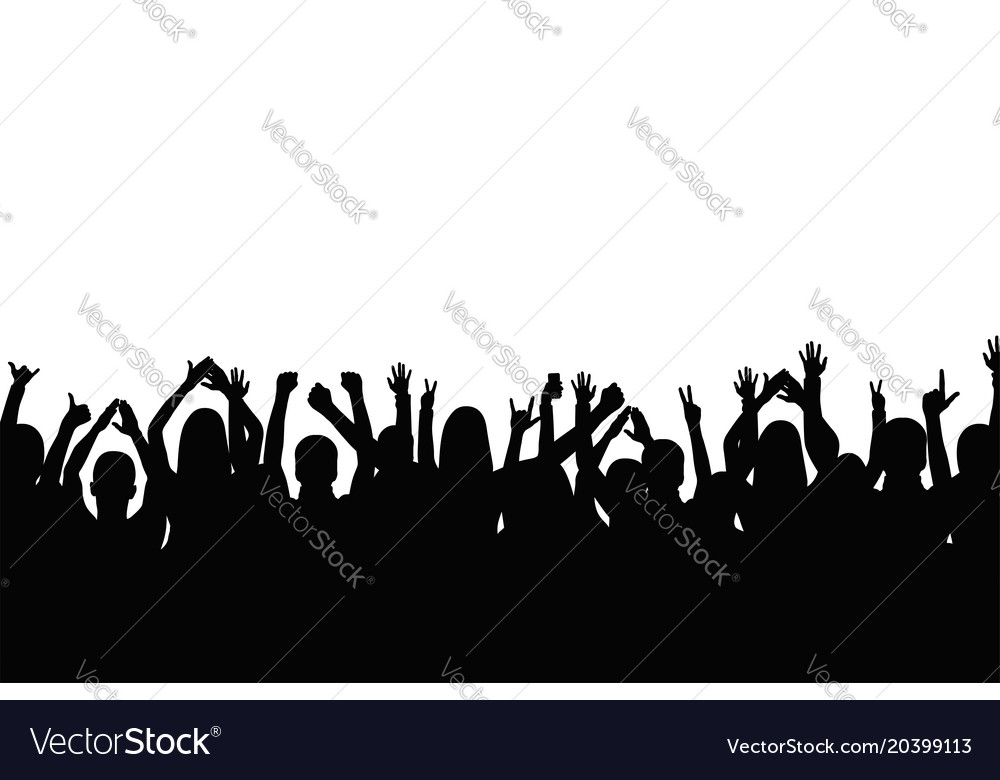 Crowd of people are applauding people show