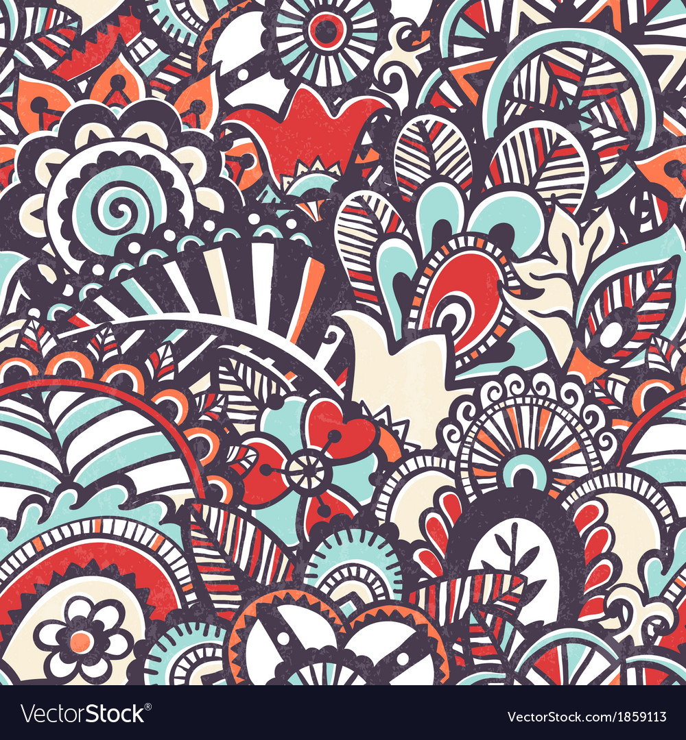 Doodle seamless print Floral background