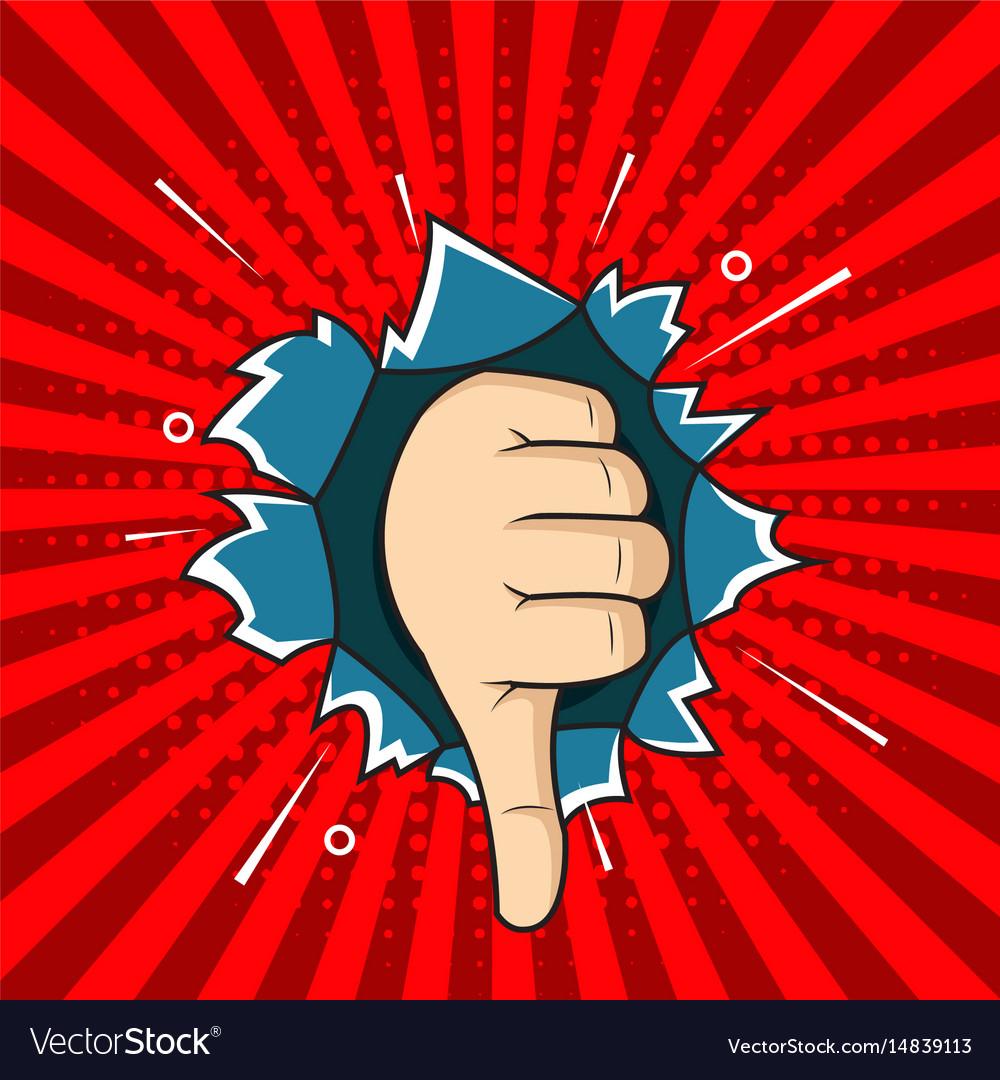 Hand bad sign comic pop art style vector image