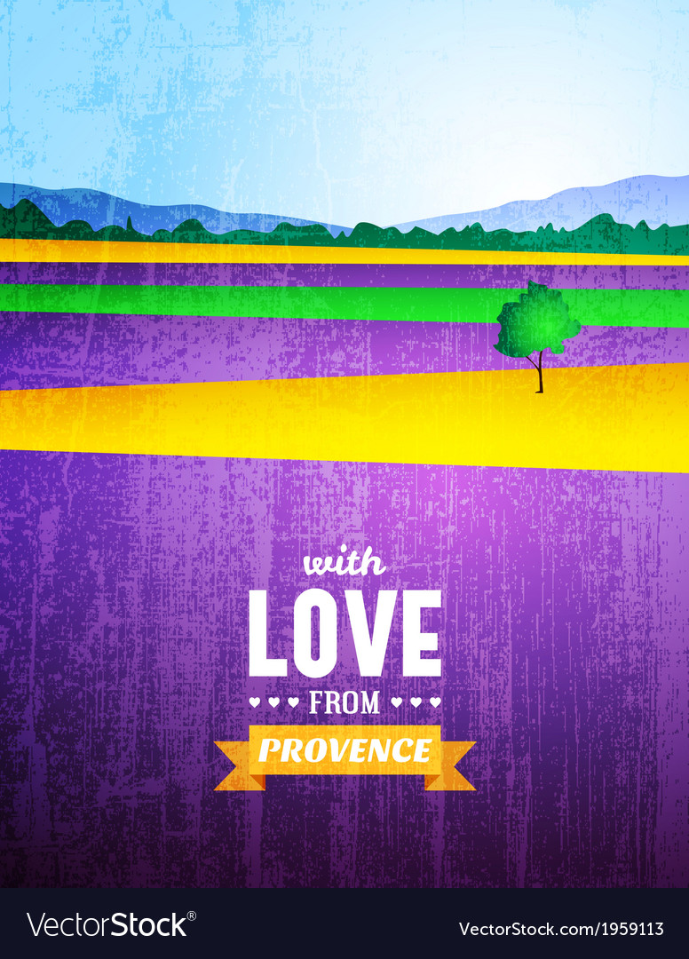 Poster with a landscape of Provence