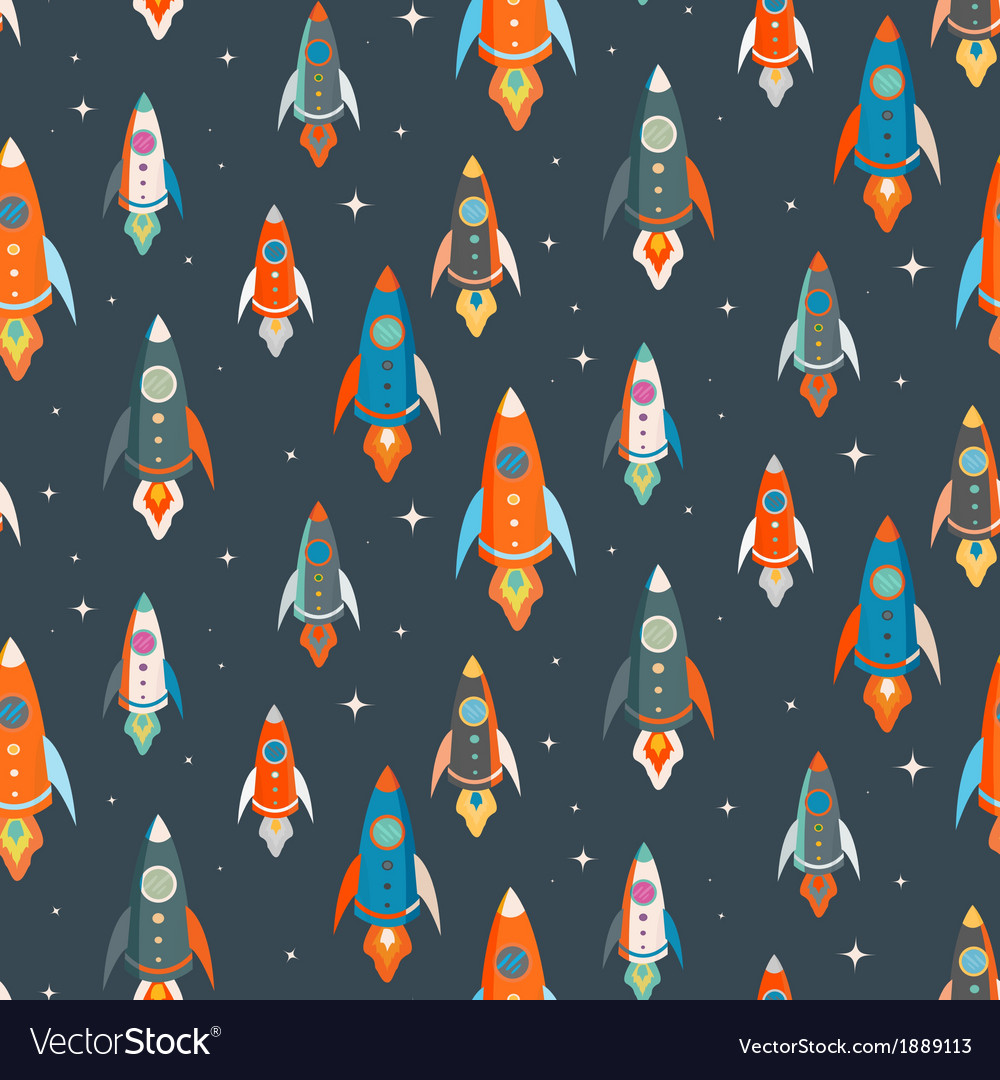 Seamless pattern colorful spaceships