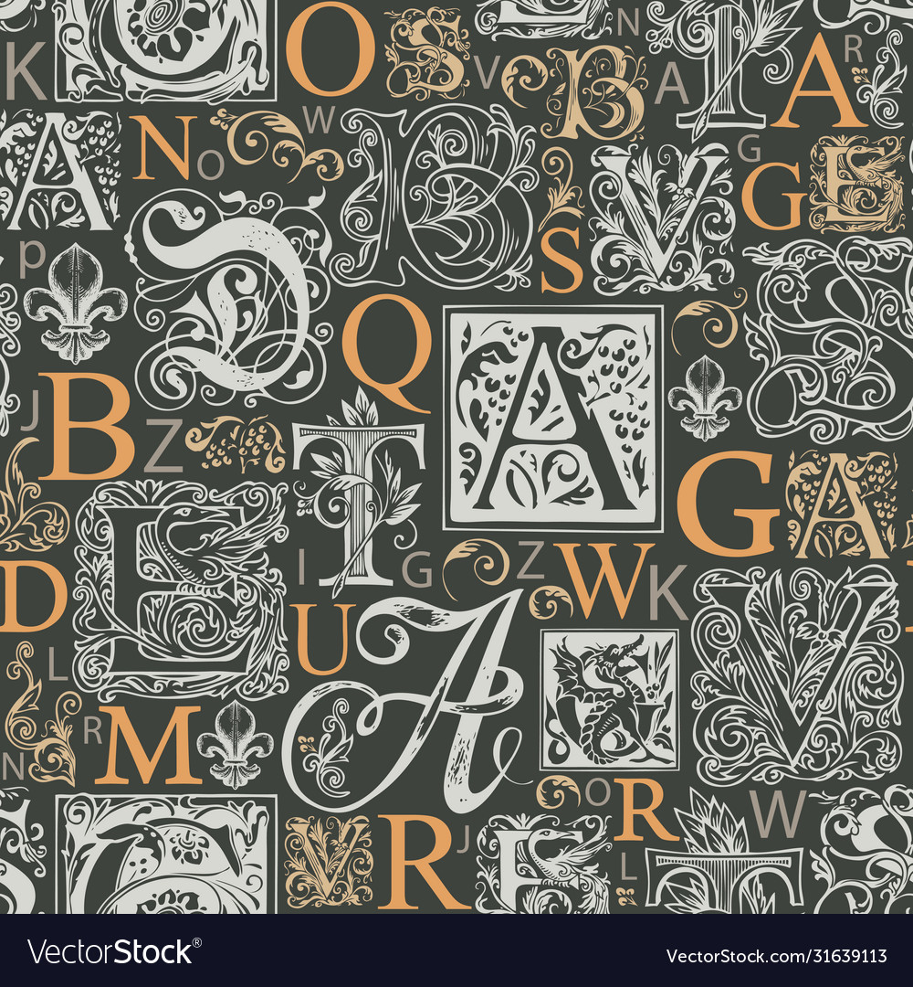 Seamless pattern with capital and initial letters