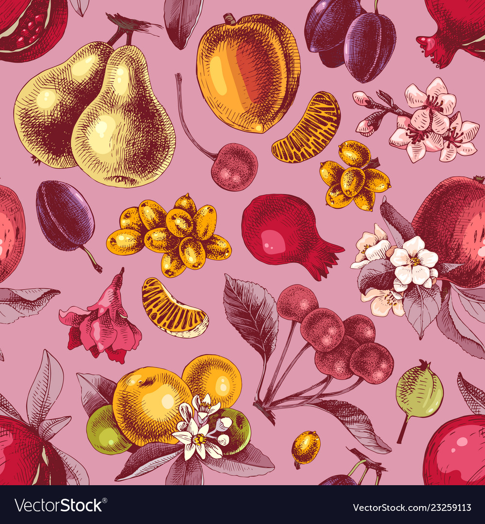Seamless pattern with hand drawn colorful fruits