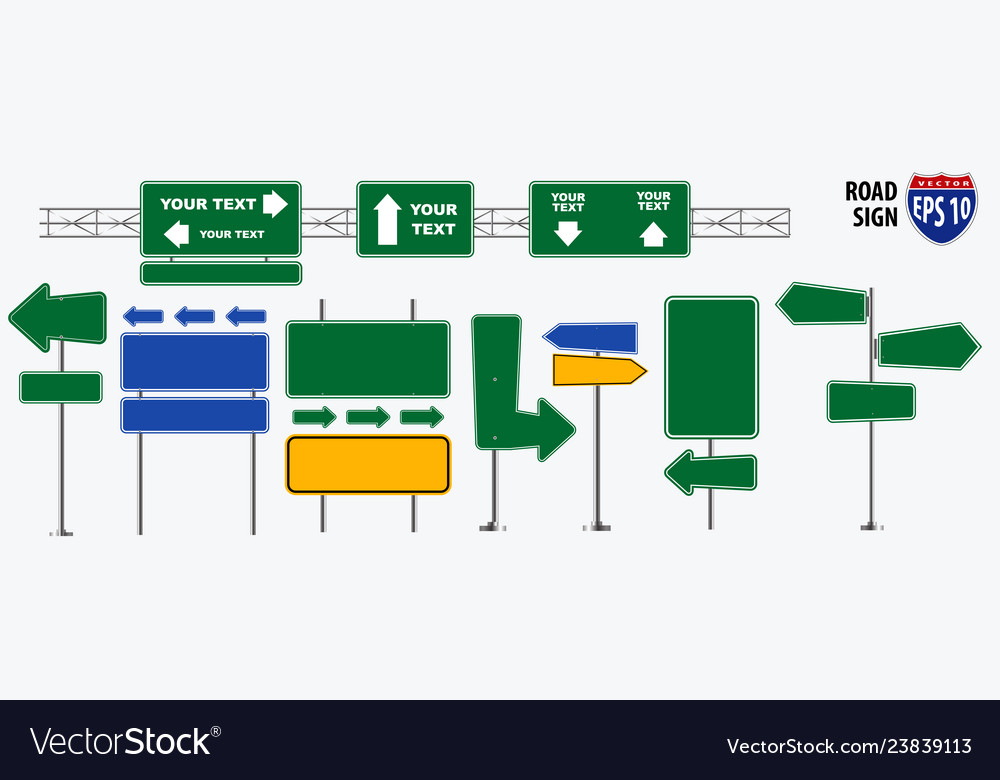 Set of road signs isolated for brochure