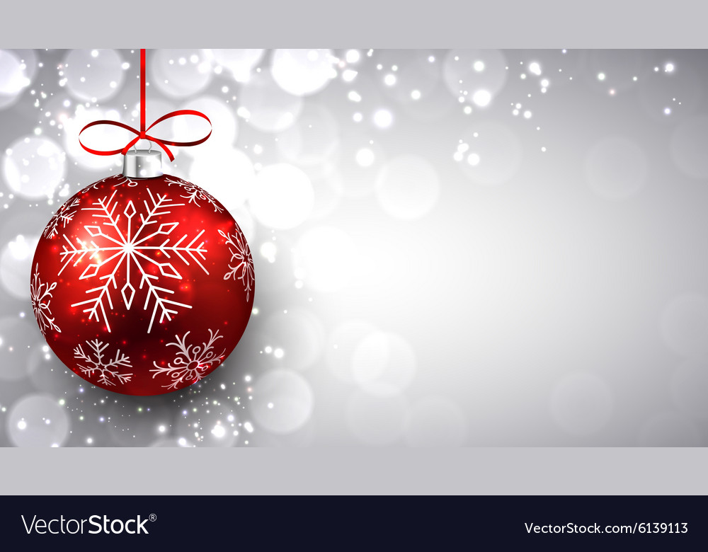 silver christmas background with red ball vector image - Red And Silver Christmas Ornaments