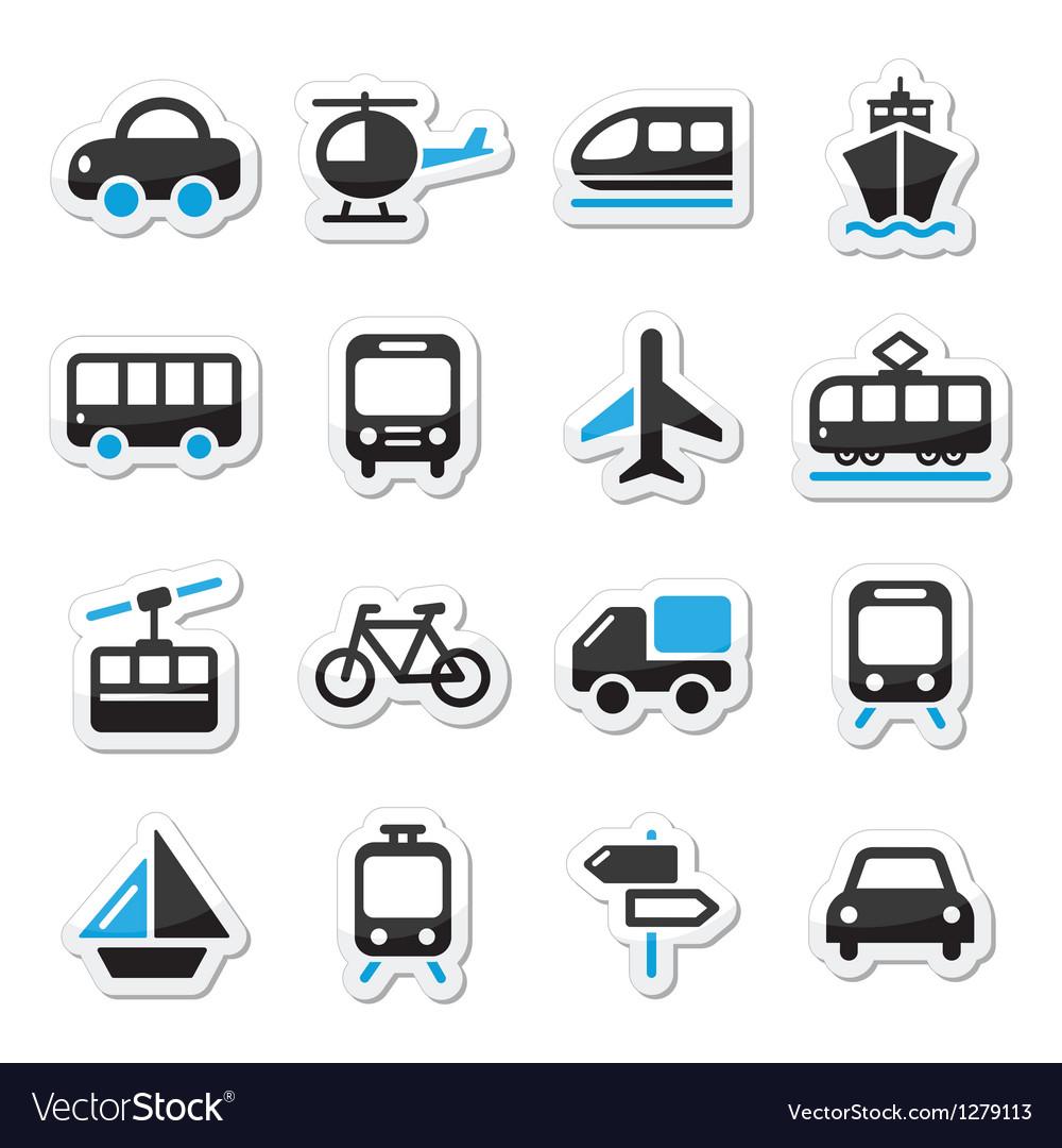 Transport travel icons set isoalated vector image