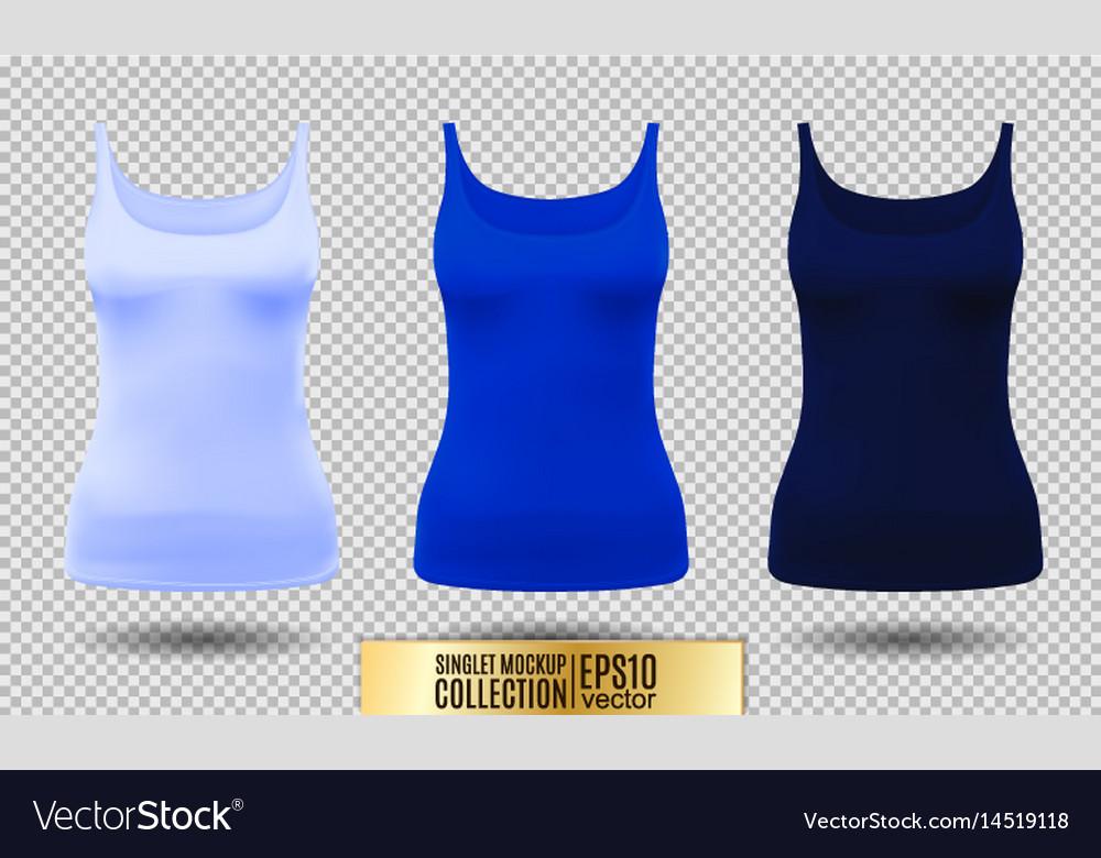 Blank sport tank top for women template set
