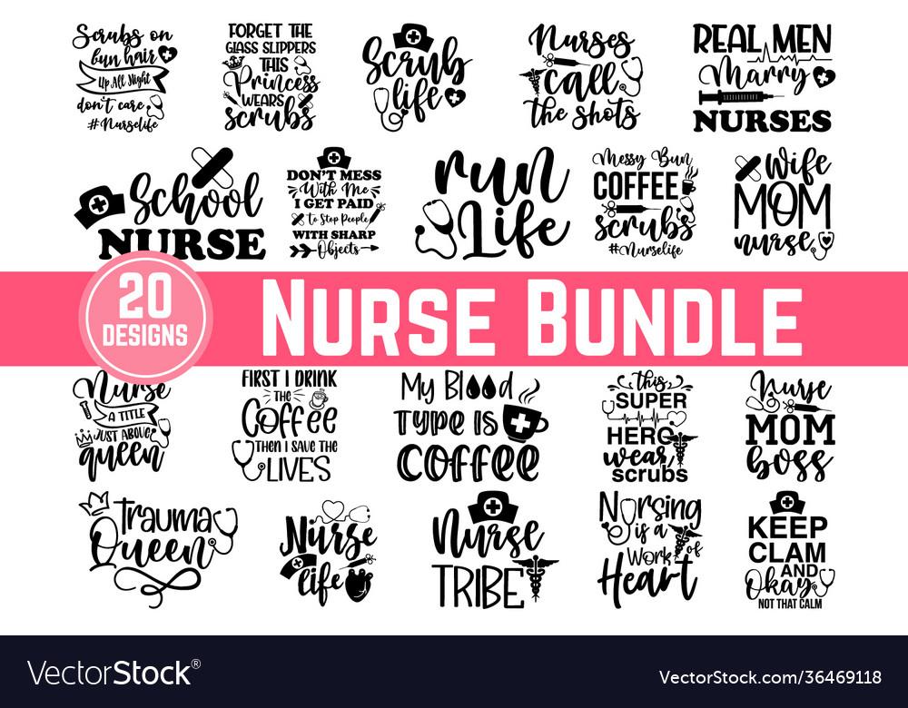 Calligraphic nurse quotes lettering set nurse quo