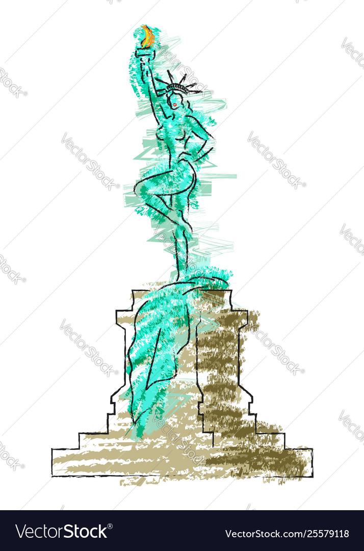 Caricature sexy woman as statue liberty