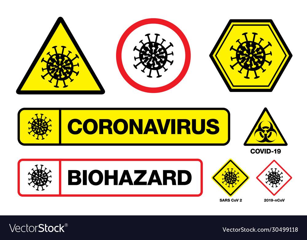 Covid19-19 coronavirus sign with virus itself