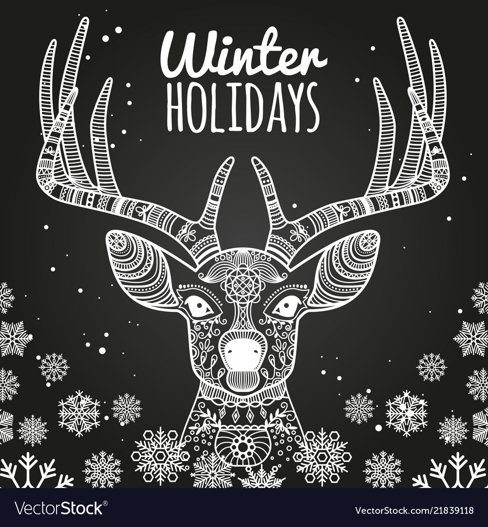 Deer and snowflakes winter holiday card template