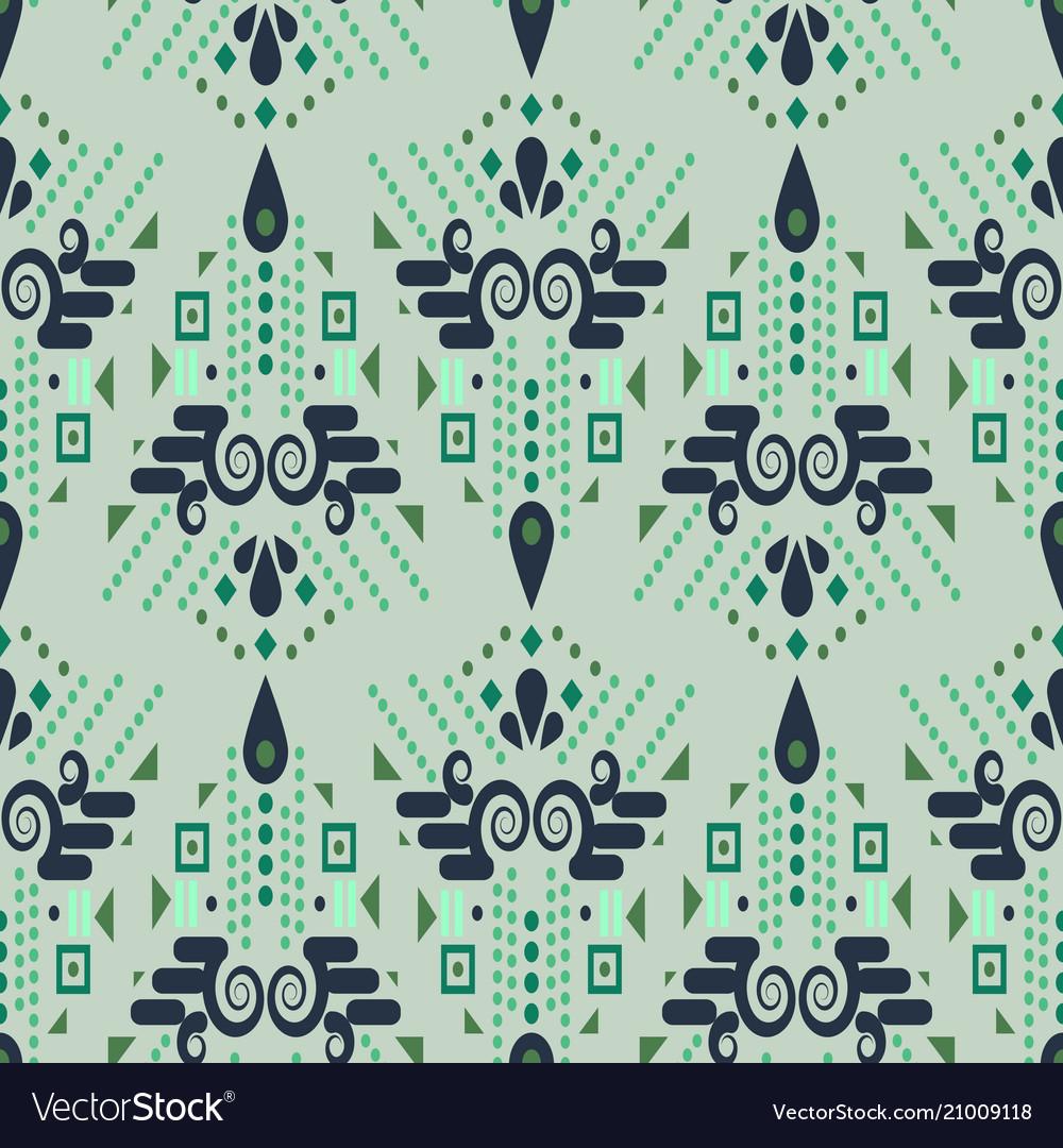 Ethnic geometric mint green summer seamless