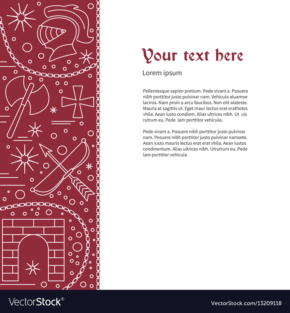 Flyer poster template with medieval line icons vector image