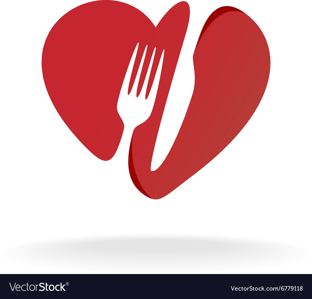 Fork and knife with heart shape lovely food logo