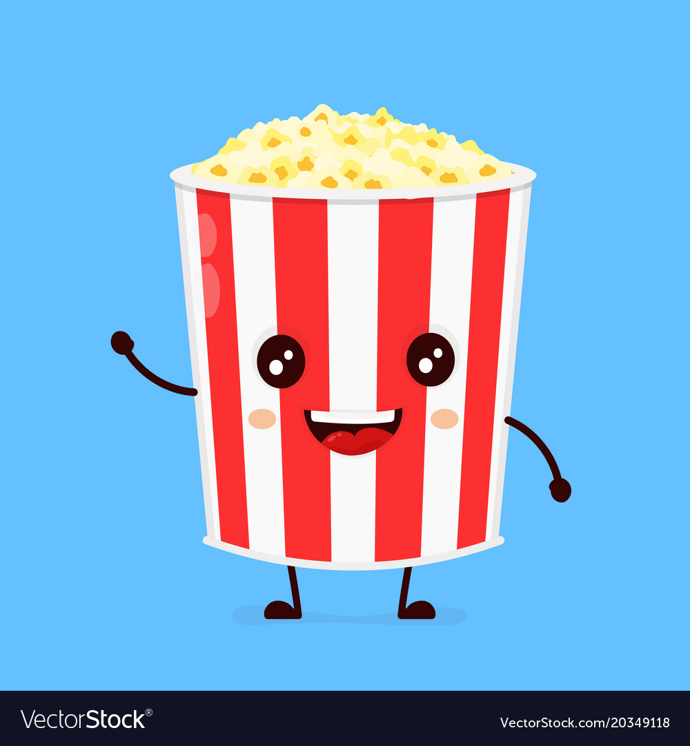 Funny happy cute smiling bucket of popcorn