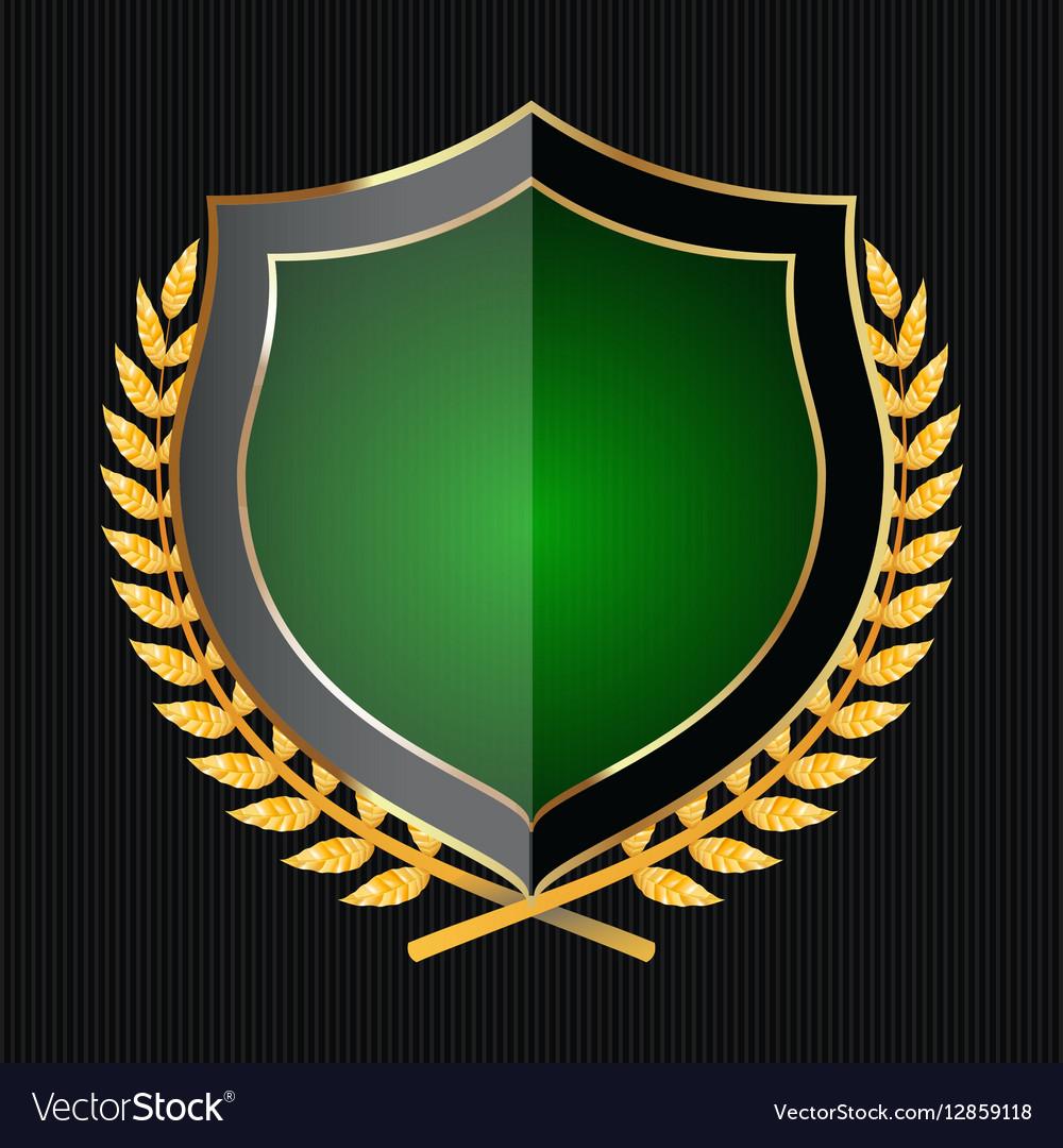 Golden Shield With Laurel Wreath vector image