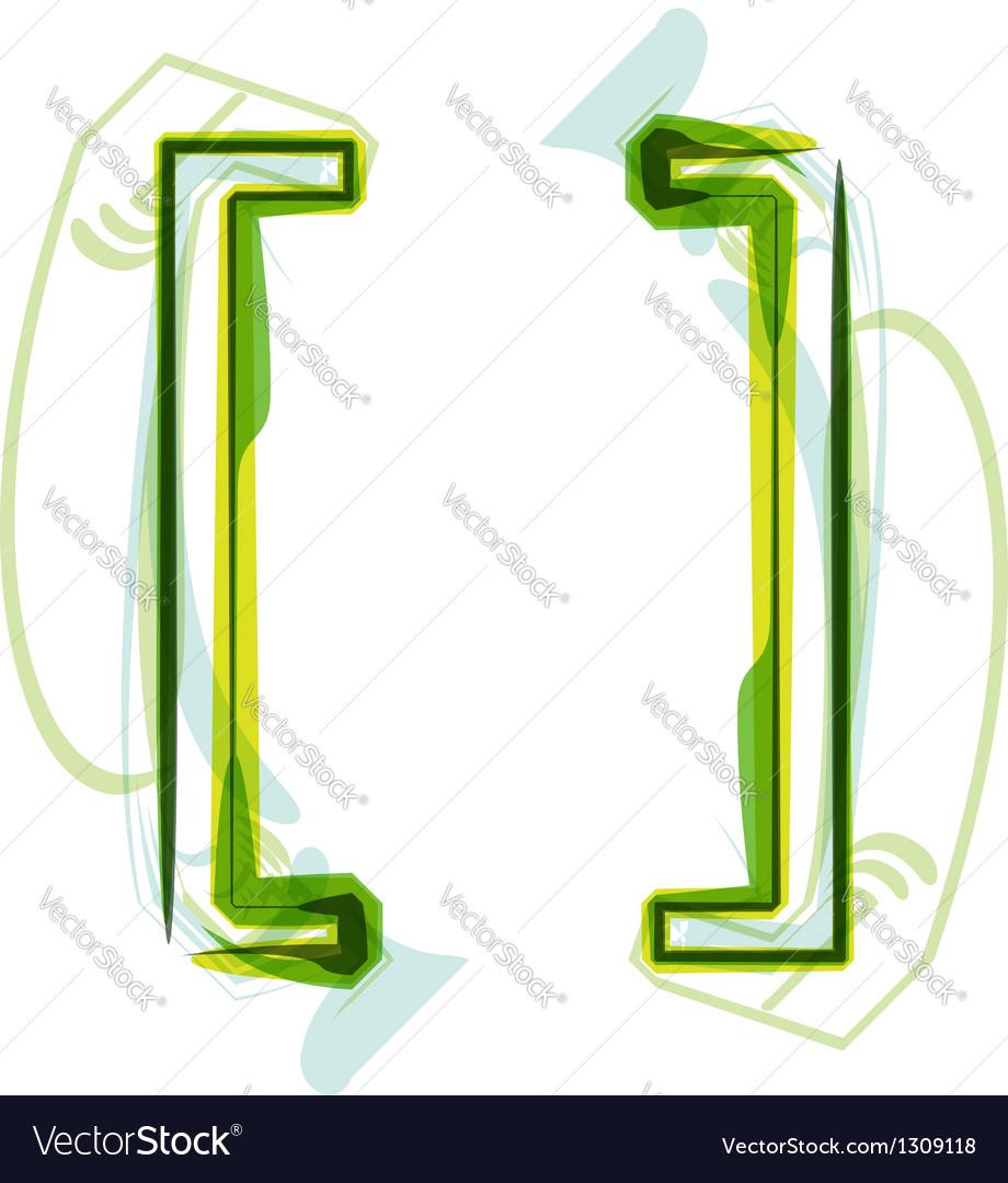 Green letter symbol