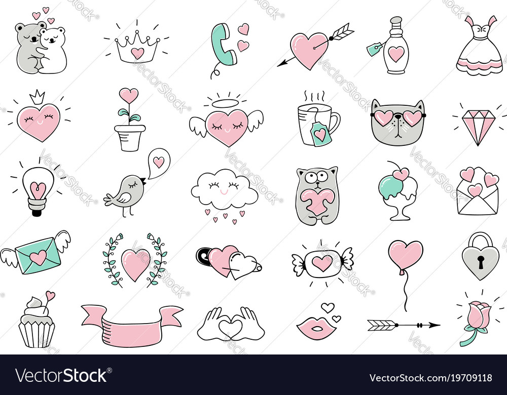 Love Symbols And Hand Drawn Valentines Day Icons Vector Image