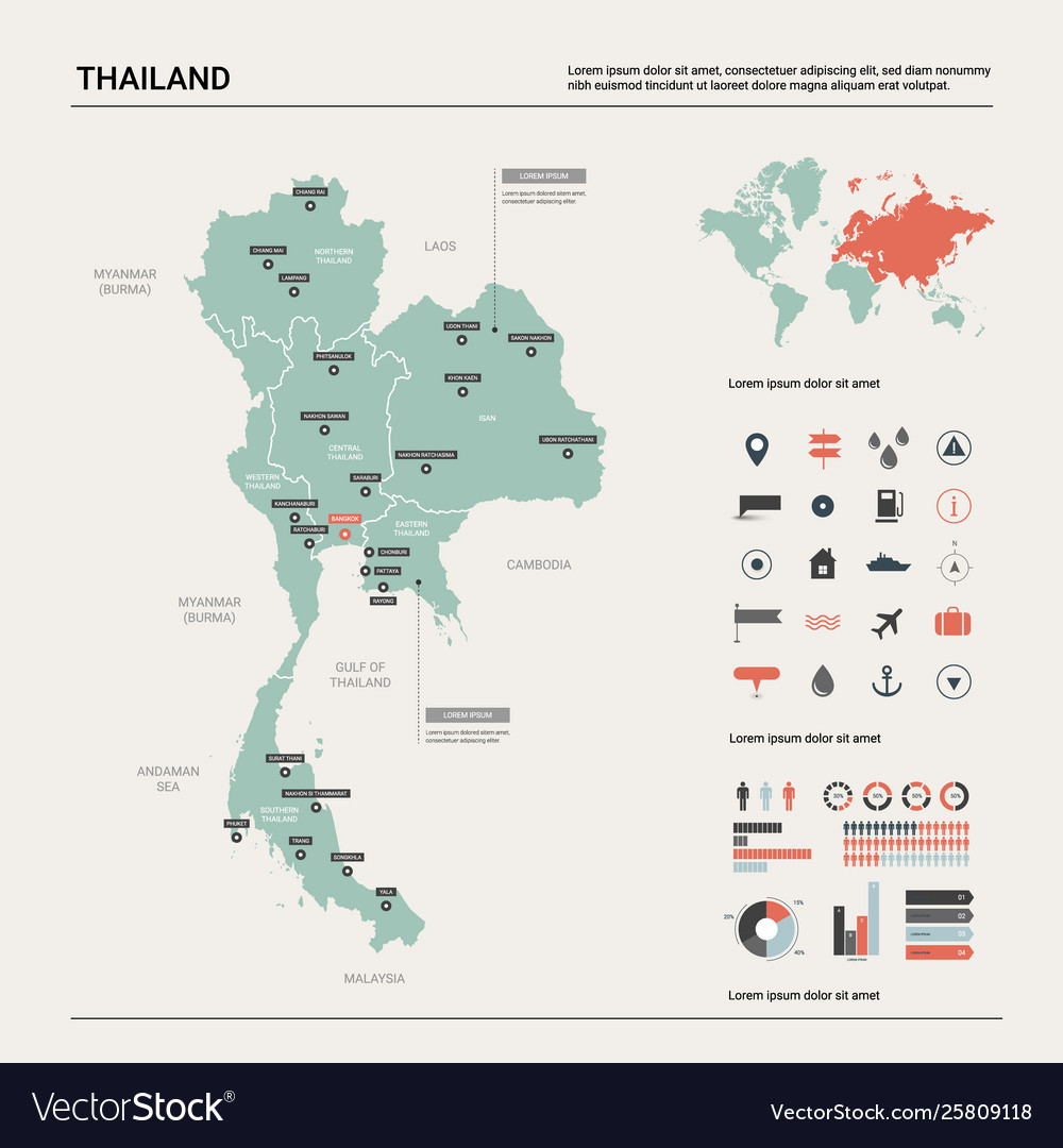 Map thailand country map with division cities