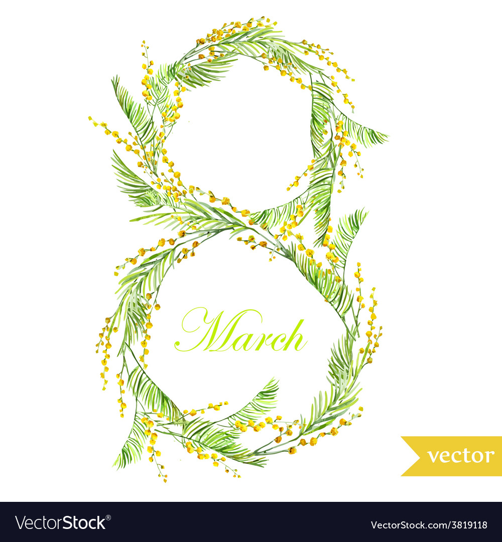 March 8 spring flowers card symbol mimosa