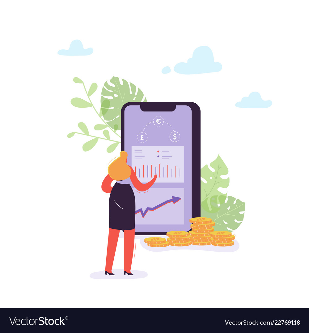 Online banking concept woman transferring money