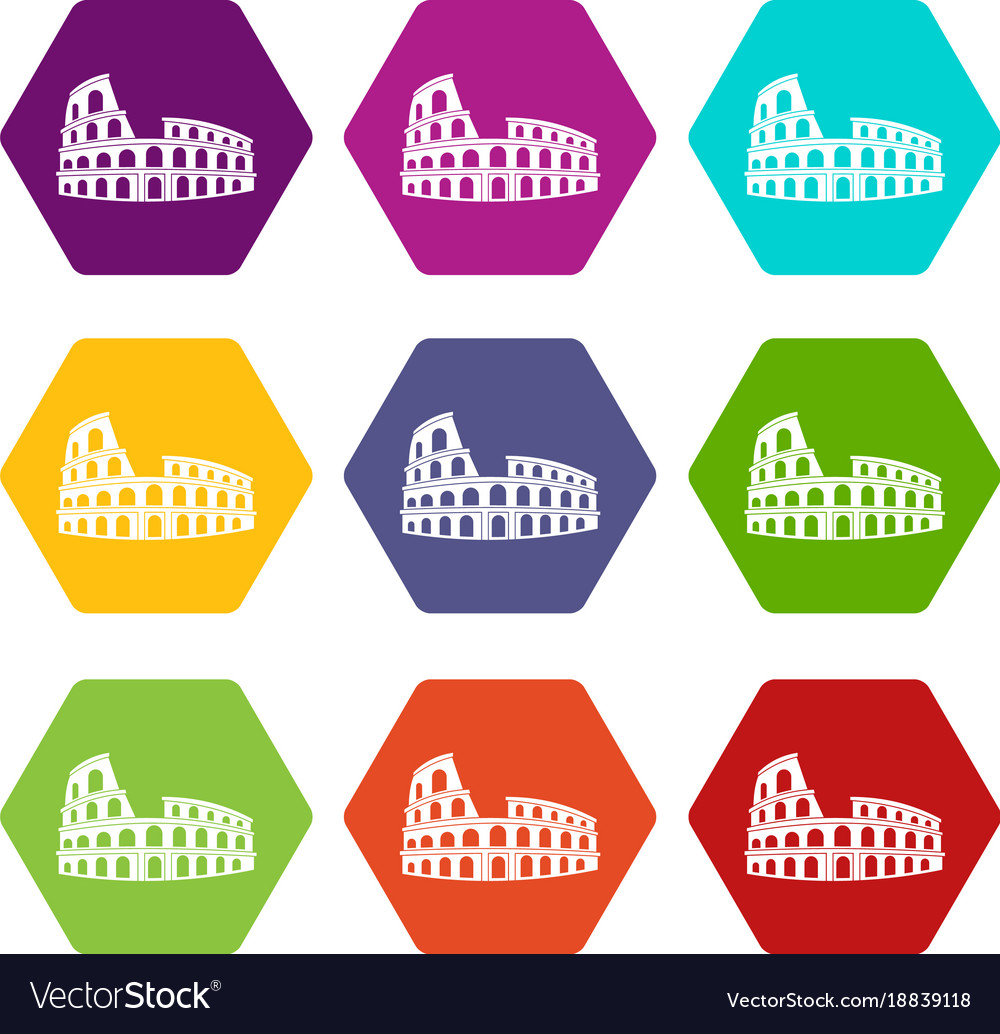 Roman colosseum icon set color hexahedron
