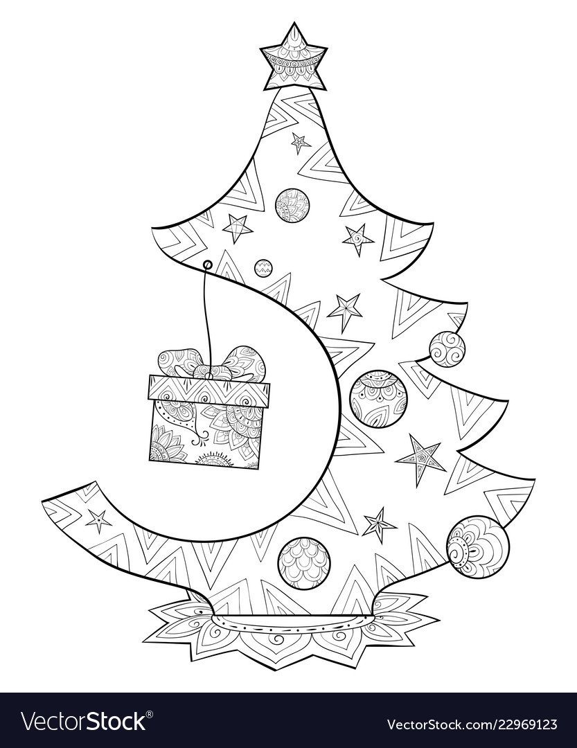 Vector Illustration Of Hand Drawn Christmas Tree.Coloring Page ... | 1080x833