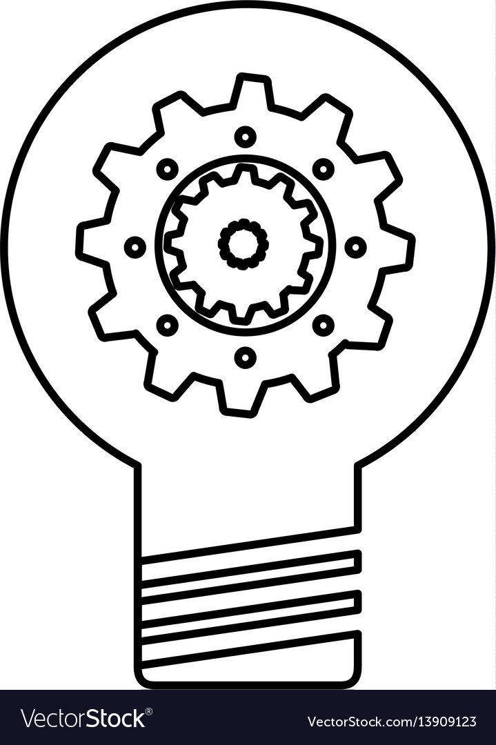Bulb Light With Gear Royalty Free Vector Image