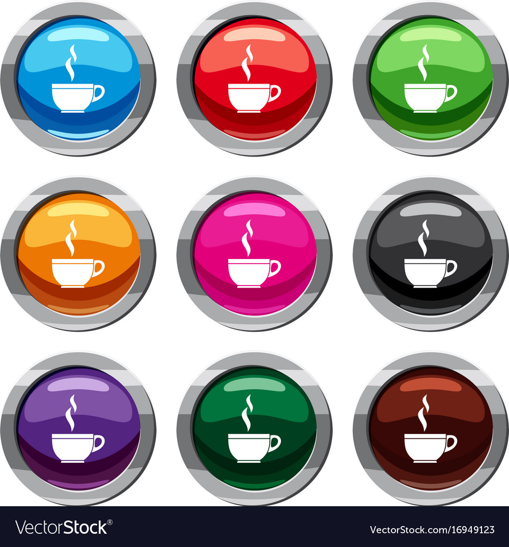 Glass cup of tea set 9 collection vector image