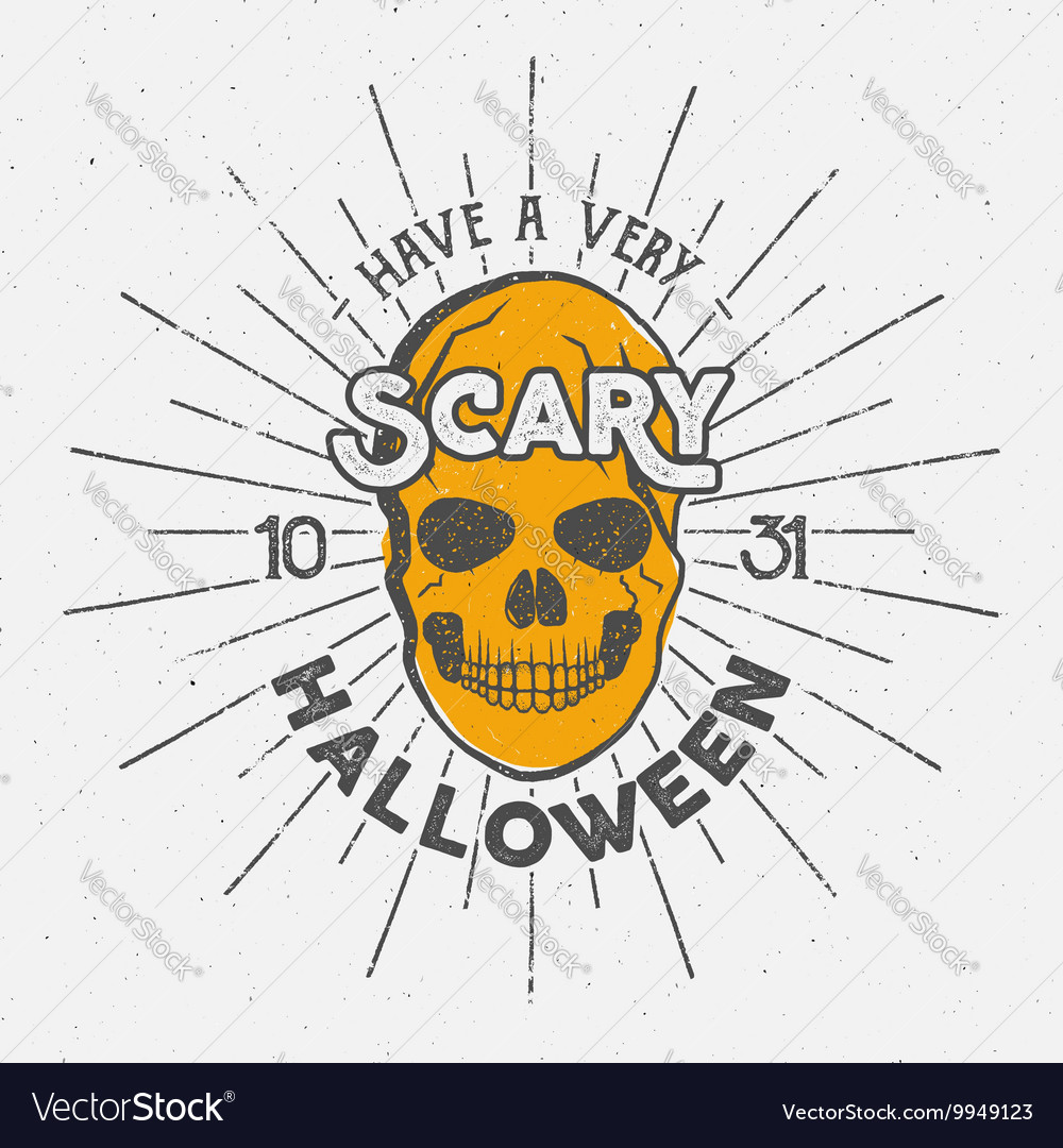 Halloween 2016 party label template with skull vector image