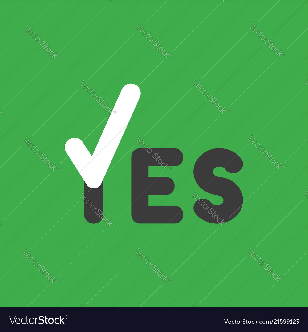 Icon concept of yes word with check mark on green