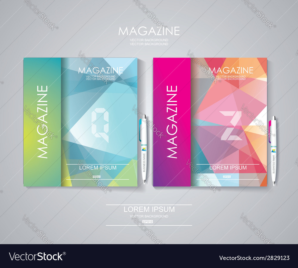 Magazine cover set with pattern of geometric