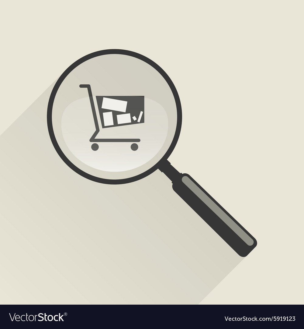 Magnifier icon and shopping trolley