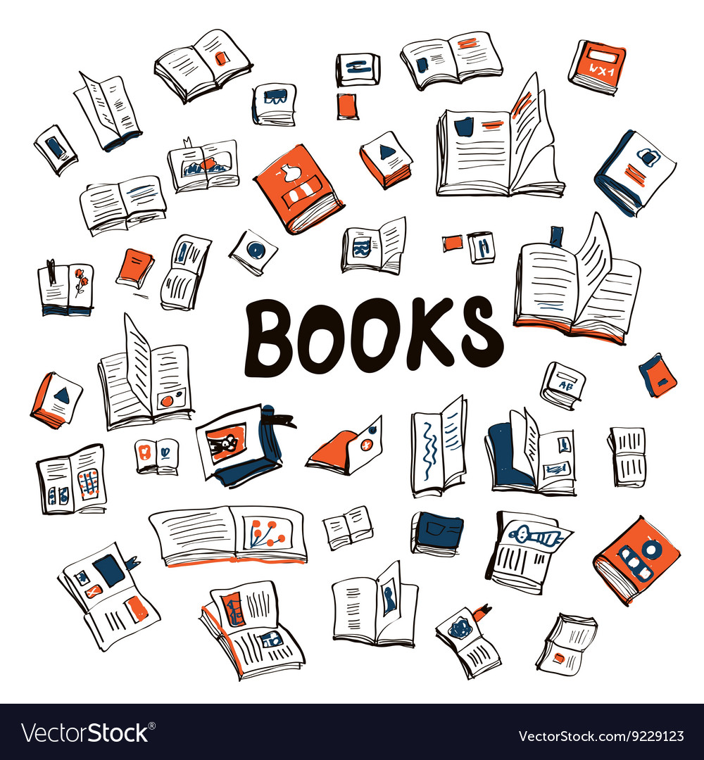 Many books sketchy background vector image