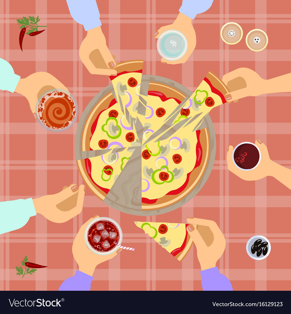 Pizza top view vector image