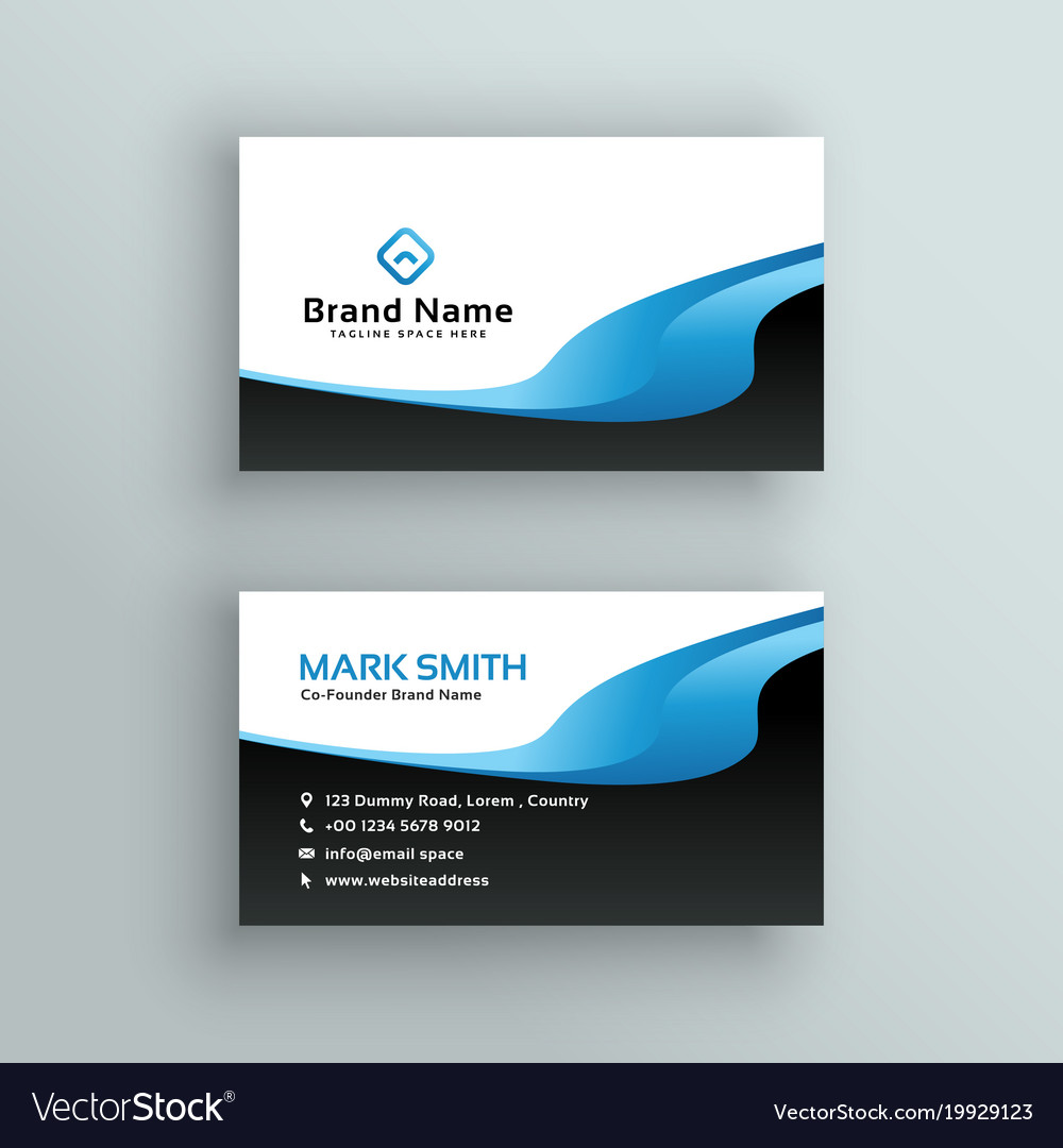 Professional Blue Wave Business Card Template Vector Image