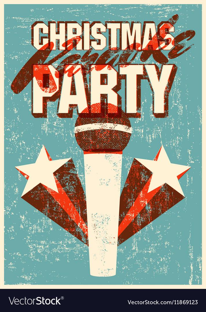 Karaoke Christmas Party.Retro Grunge Christmas Karaoke Party Poster