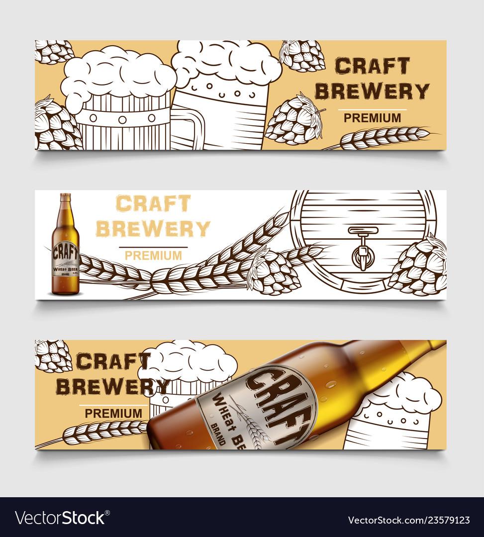 Set beer brewery vintage banners