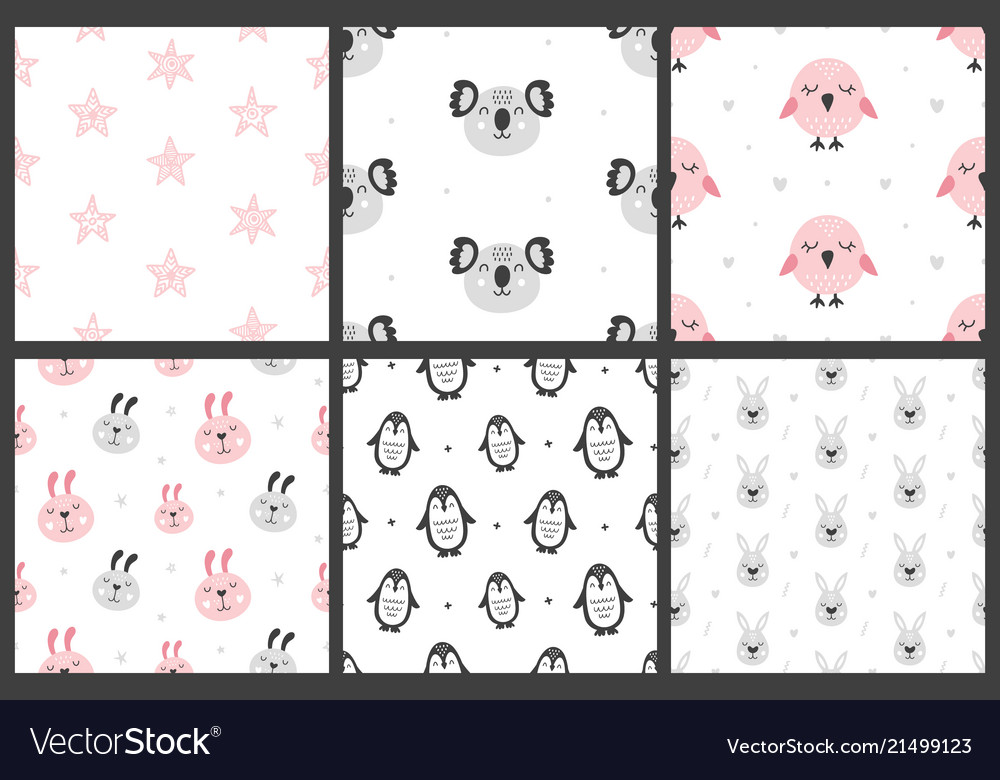 Set of nursery kids seamless patterns