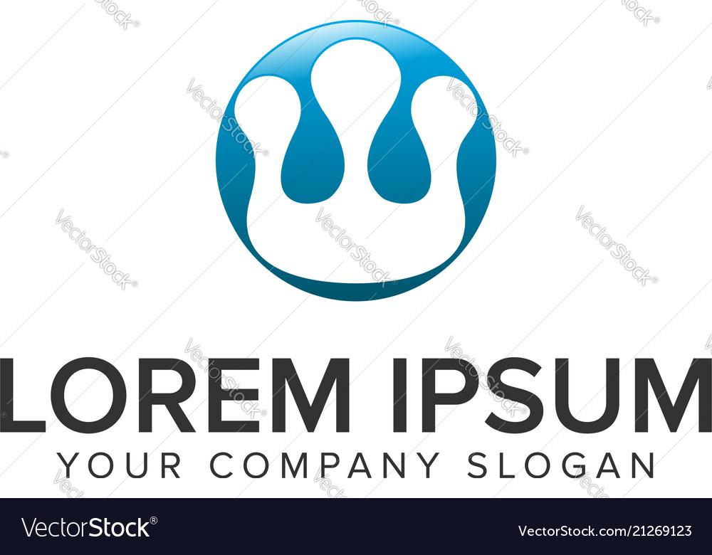 Simpel crown circle logo design concept template