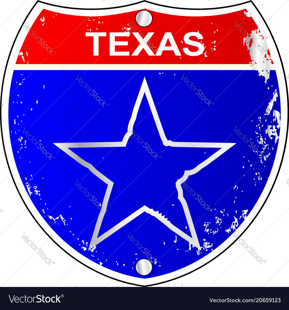Texas lone star interstate sign