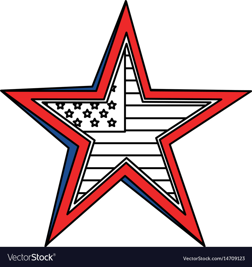 United statae of america flag with star shape