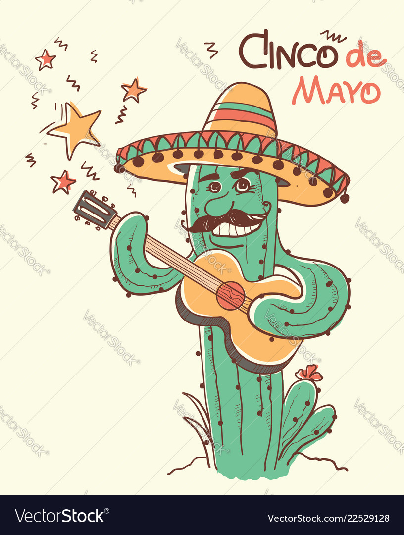 Cinco de mayo cactus playing the guitar color
