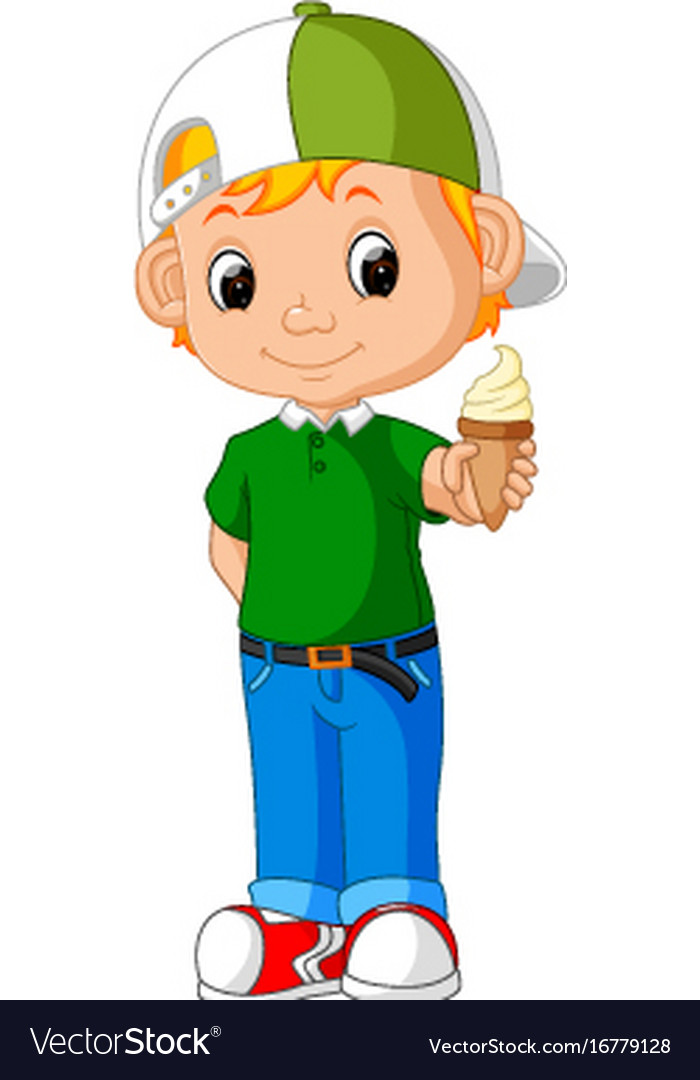 Cute boy cartoon licking ice cream vector image