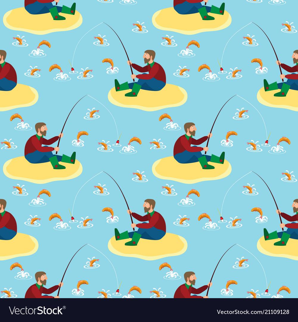 Fisherman and fish seamless pattern