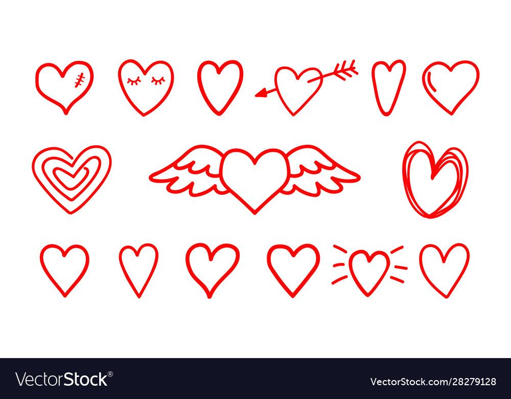 Hand drawn hearts icons
