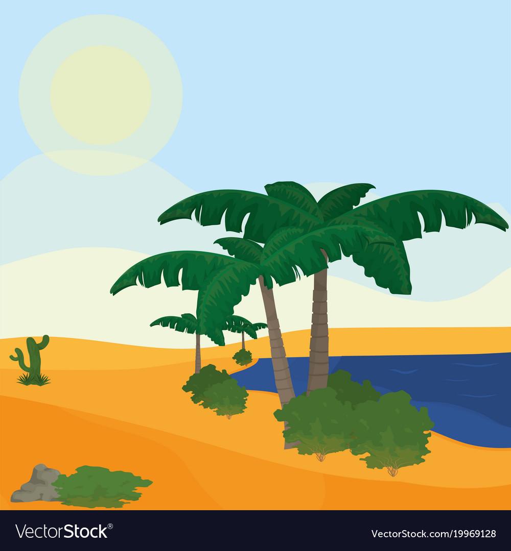Lake on desert vector image